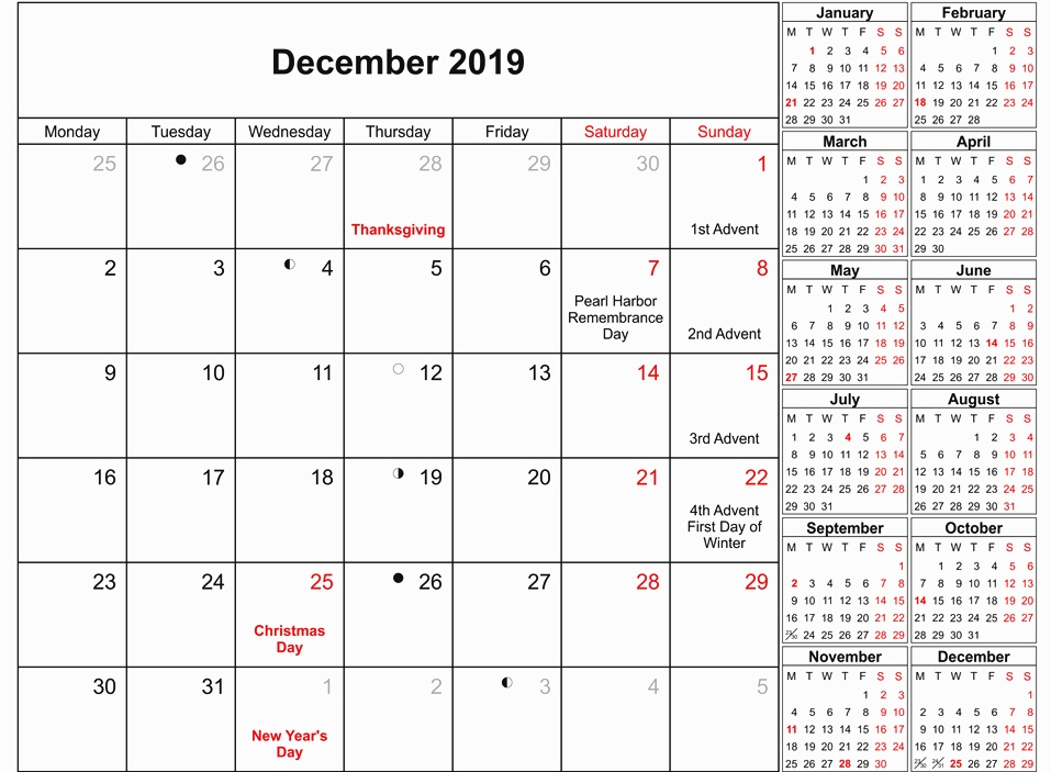 2019 December Calendar with Holidays Printable Template