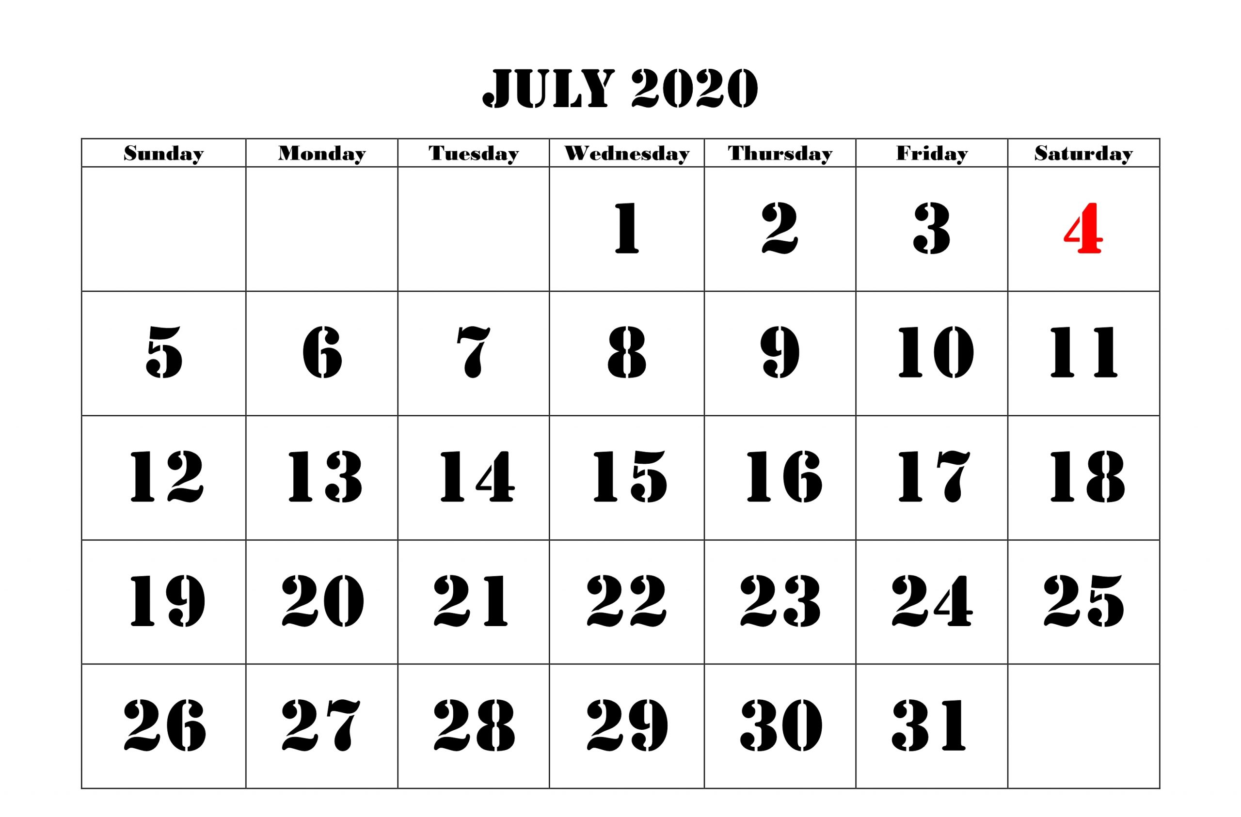 2020 July Calendar Monthly Printable