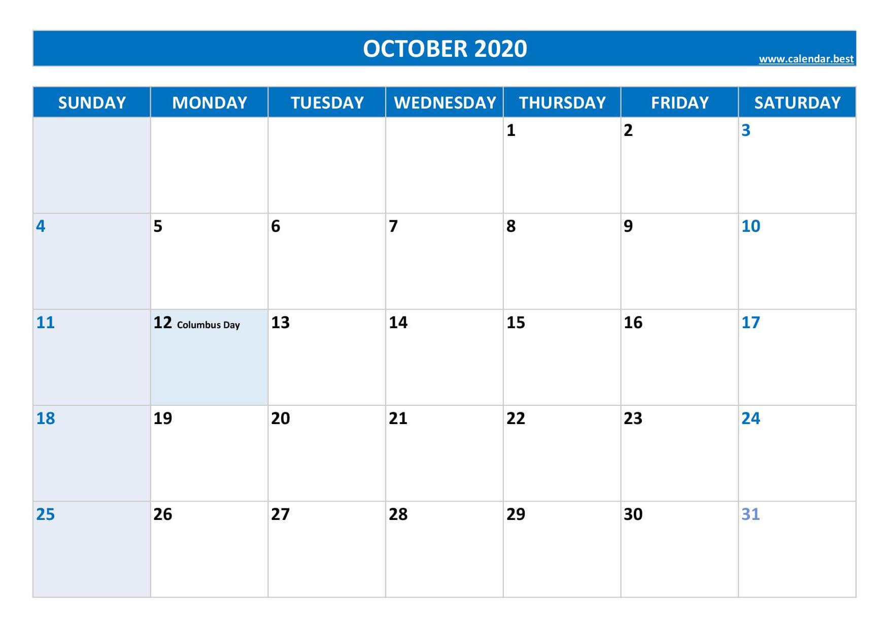 2020 October Calendar with Holidays