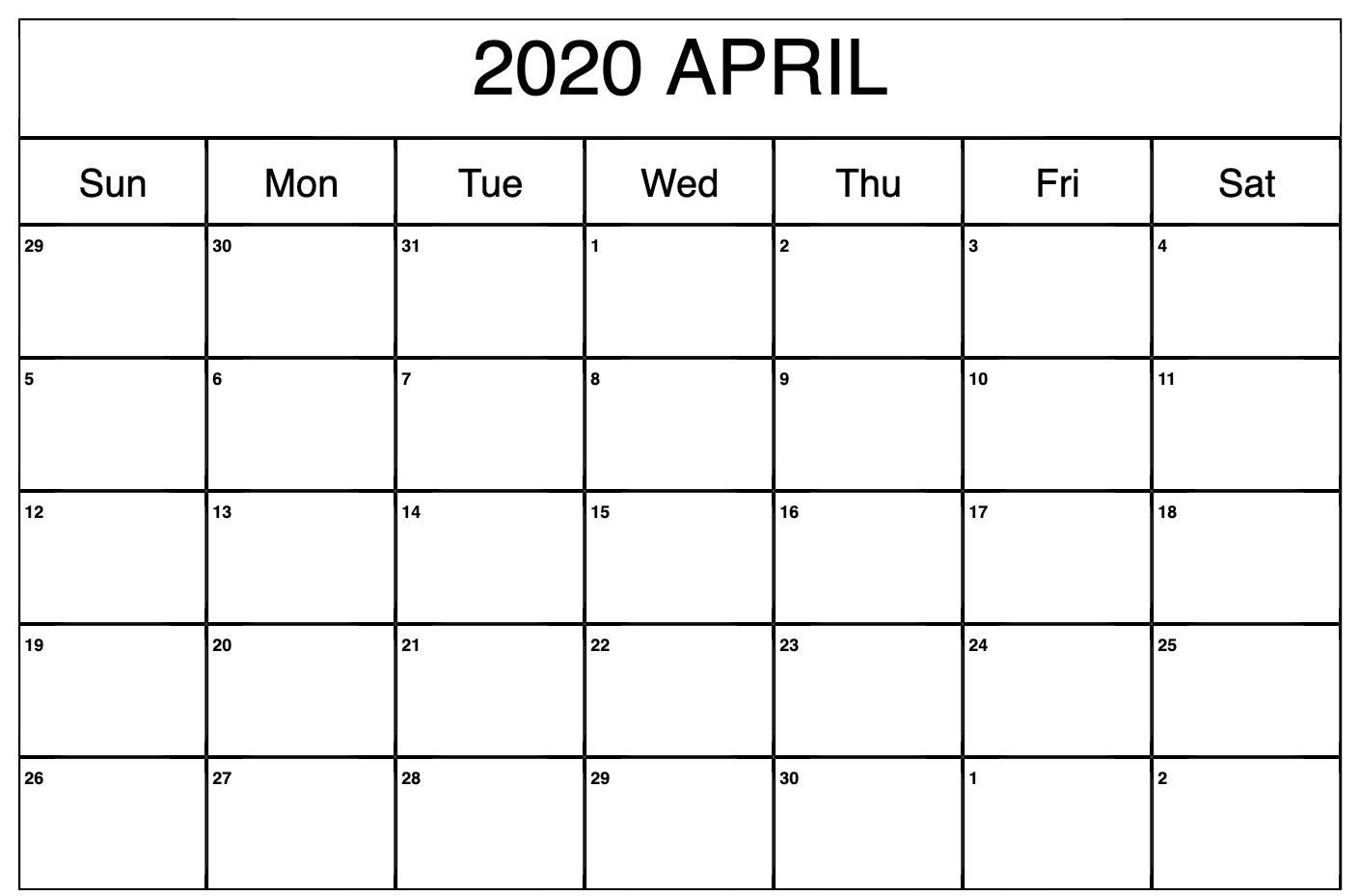 April 2020 Calendar Excel