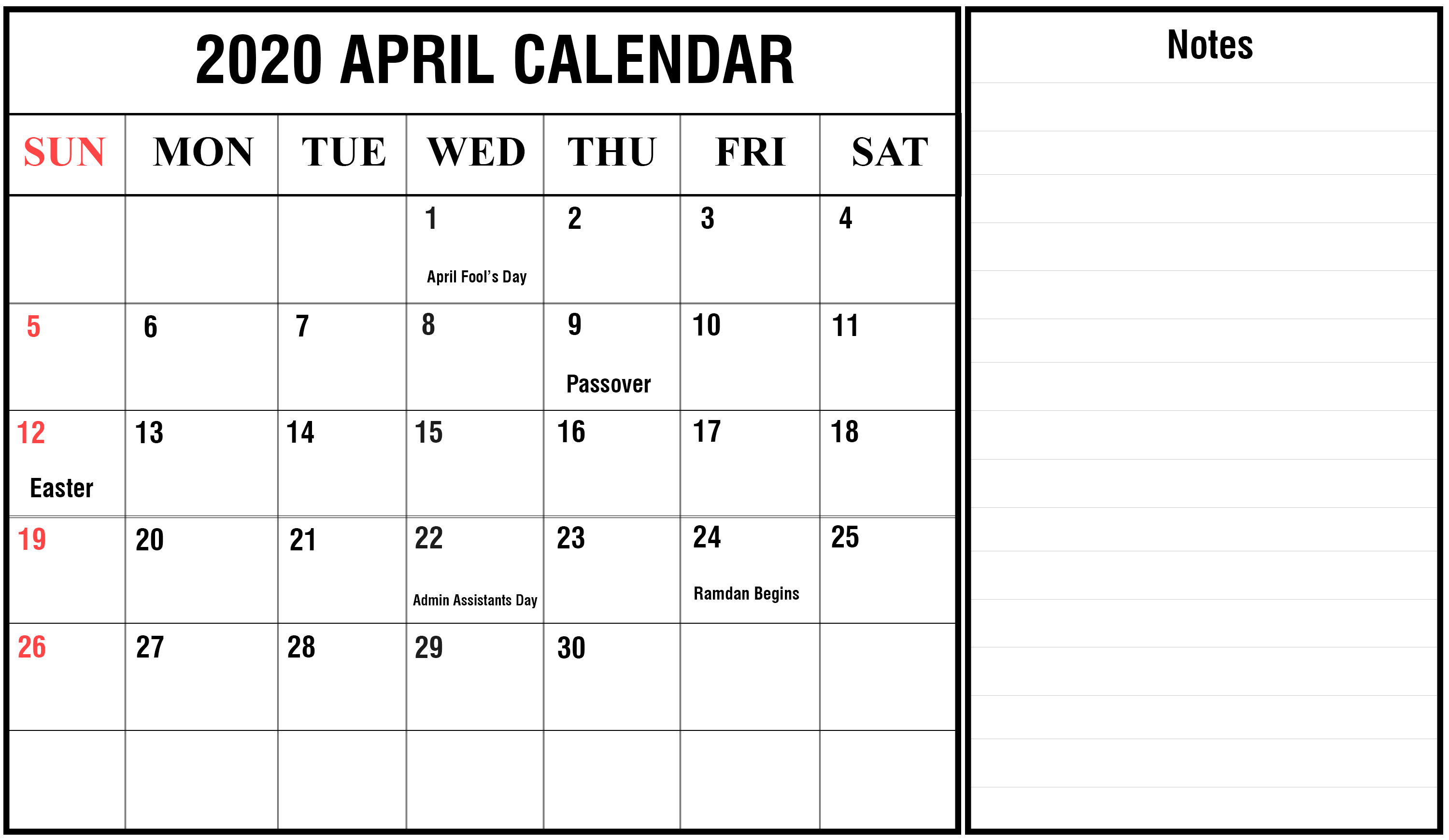April 2020 Calendar With Notes