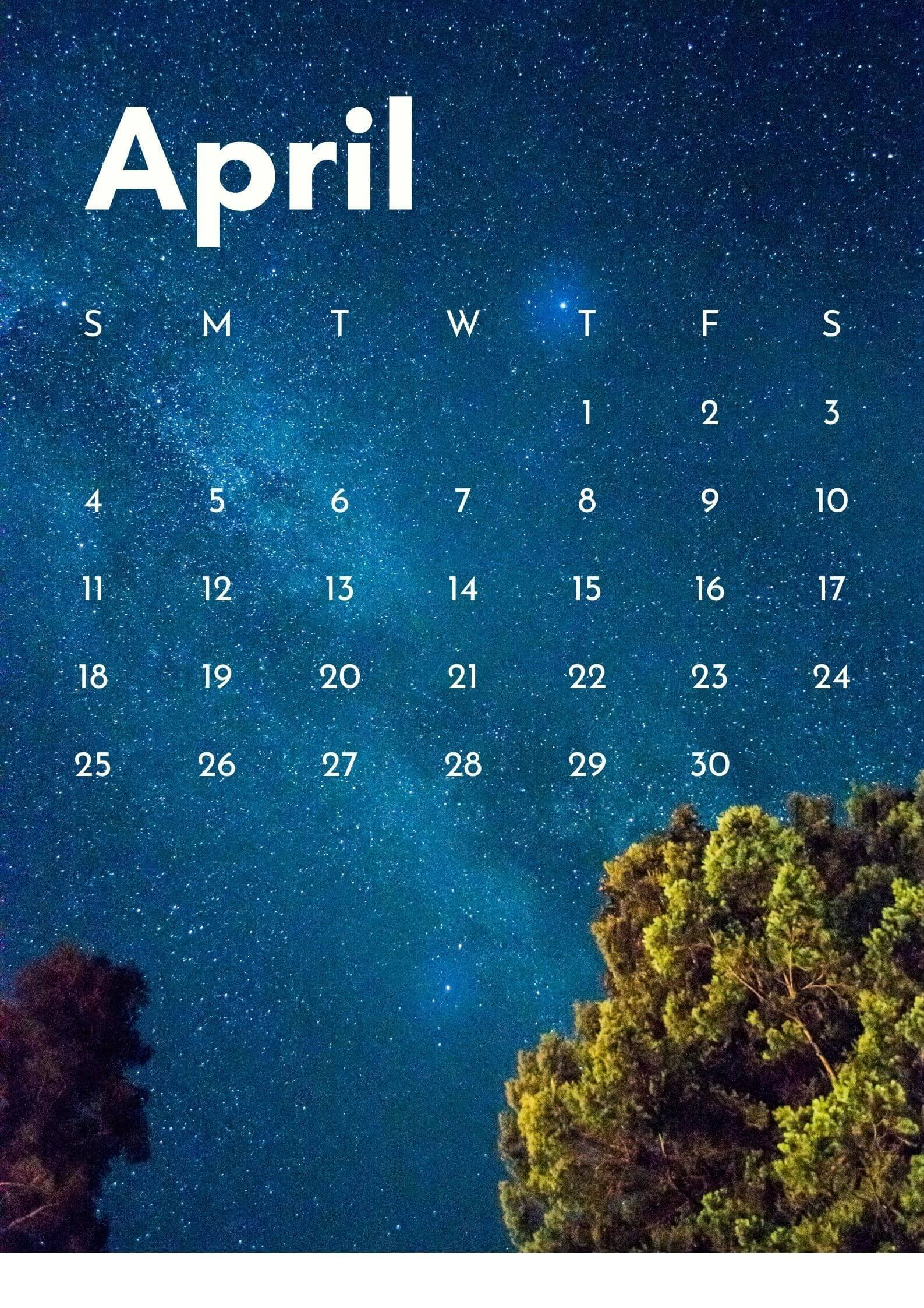 April 2021 Calendar Wallpaper for Mobile Phone