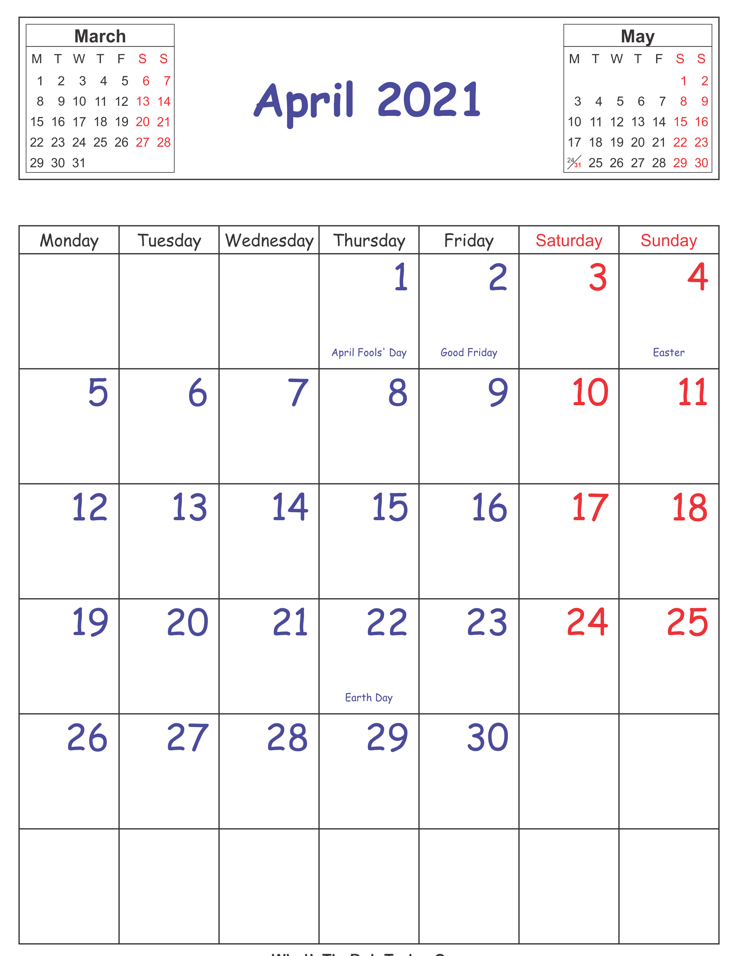 April 2021 Holidays Calendar Template