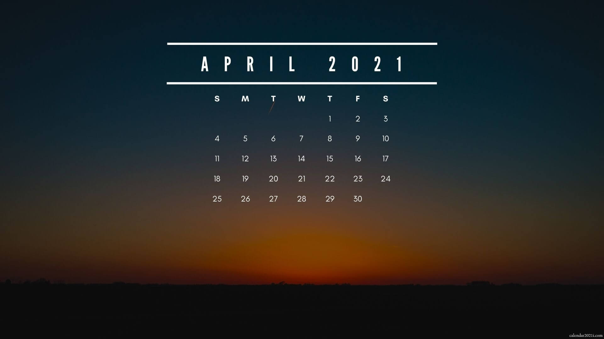April 2021 Screensaver Background Calendar