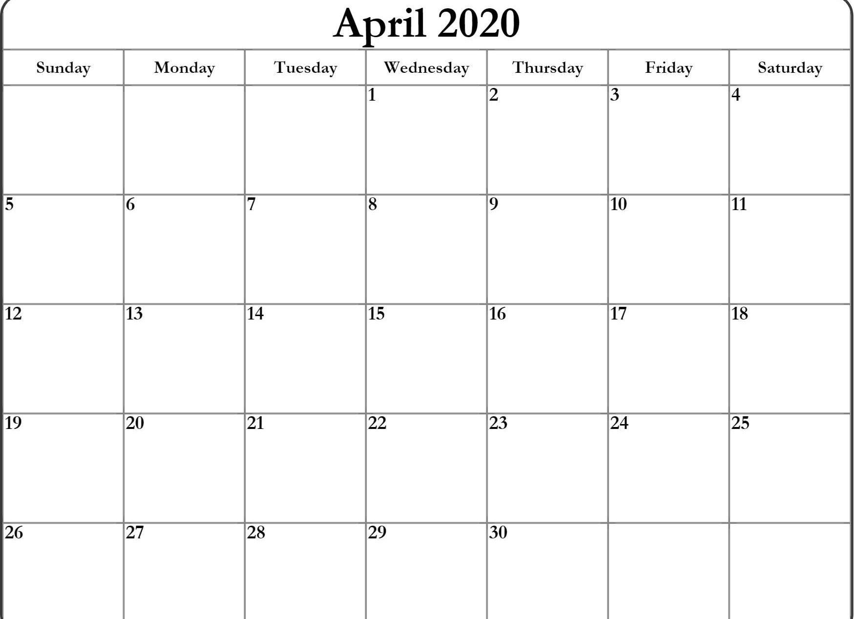 April Calendar 2020