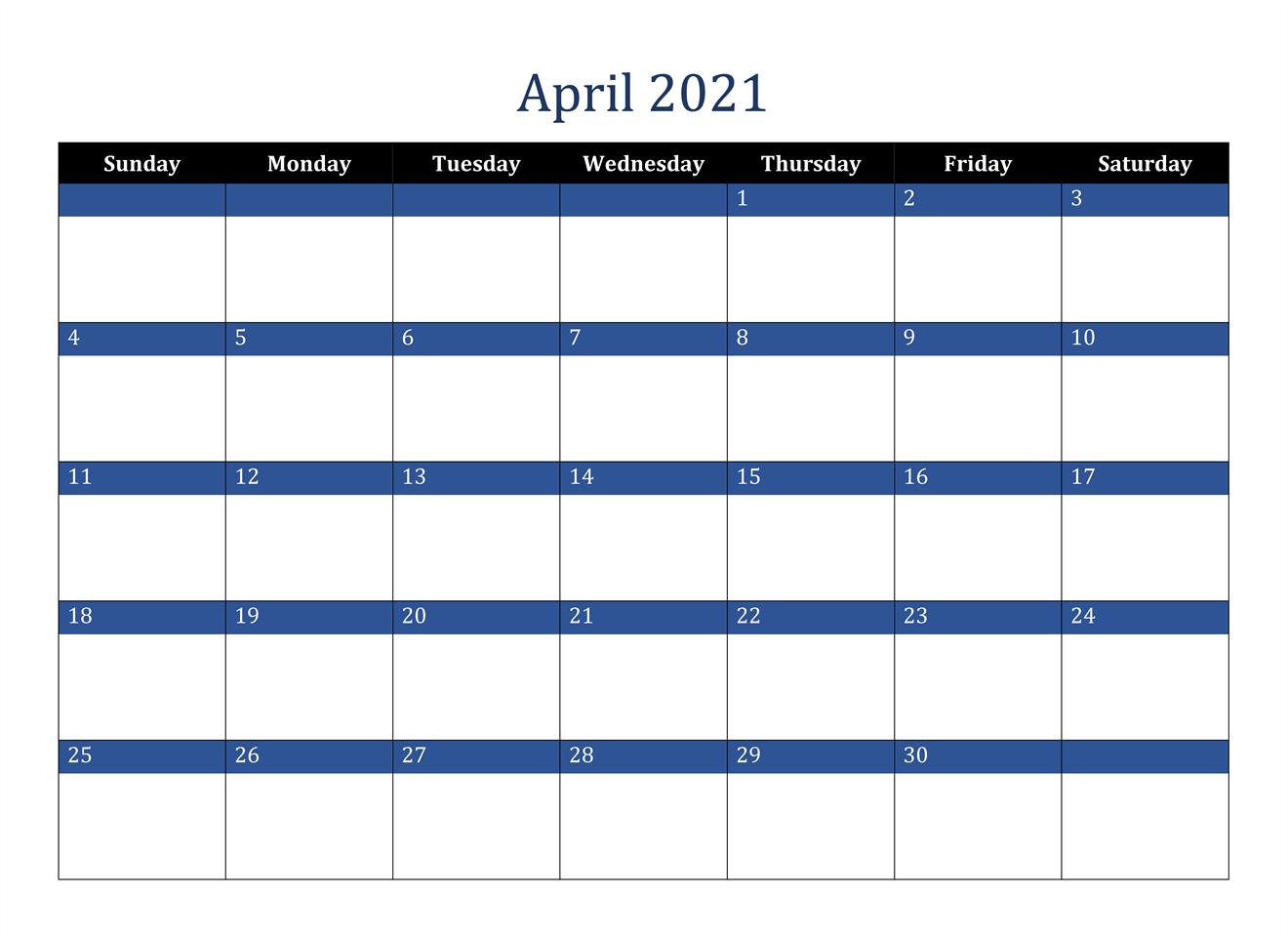 April Calendar 2021 Excel