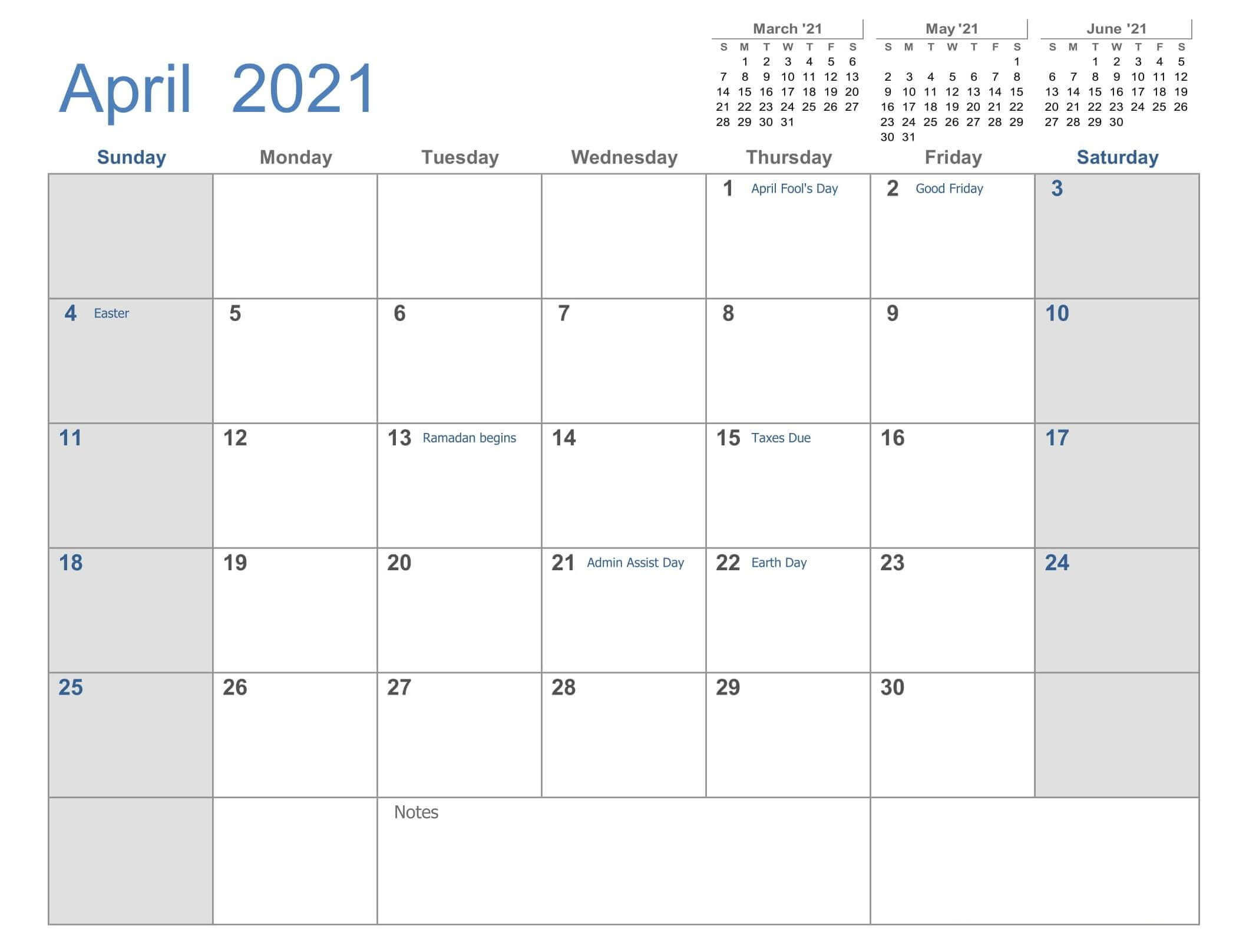 April Calendar 2021 Printable Template