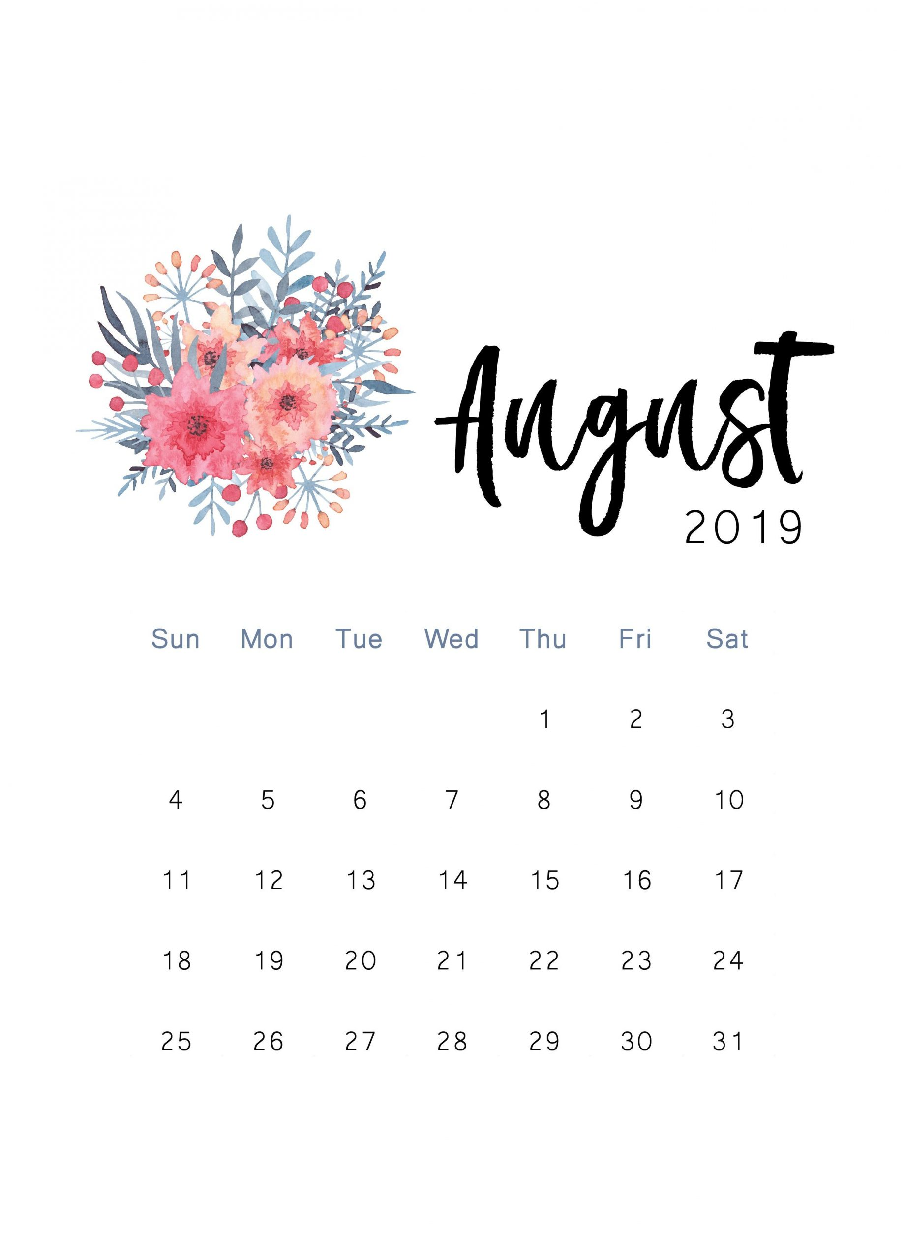 August 2019 Calendar PDF, Word, Excel Templates