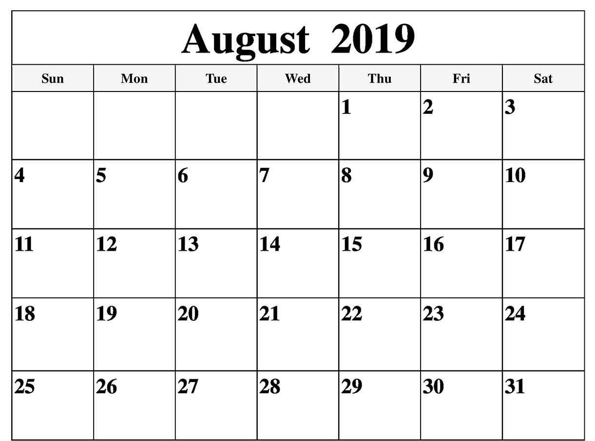 August 2019 Calendar PDF, Word, Excel Templates
