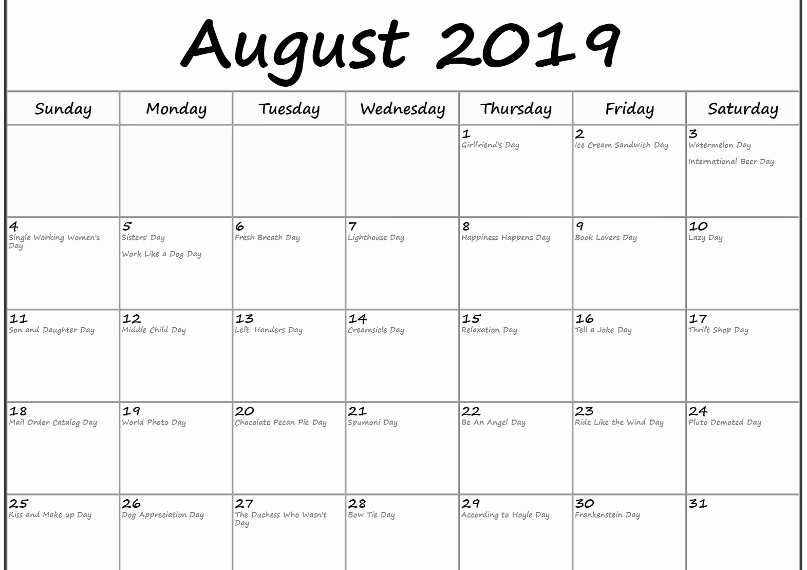 August 2019 Calendar With Holidays.August 2019 Calendar With Holidays