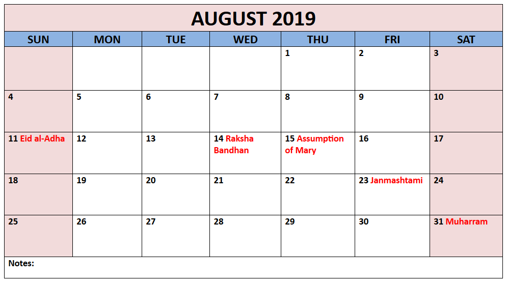August 2019 Hindu Calendar Holidays