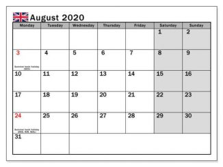 August 2020 Calendar with Holidays UK