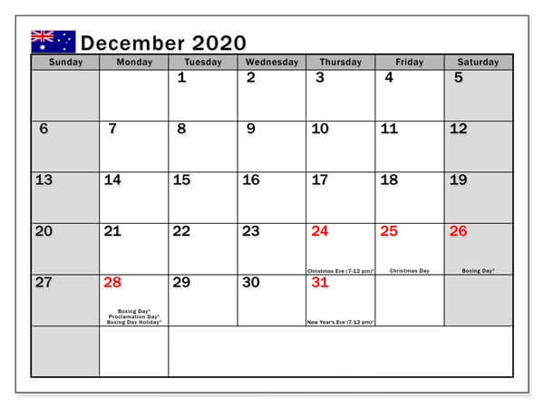 Australia Holidays Calendar December 2020