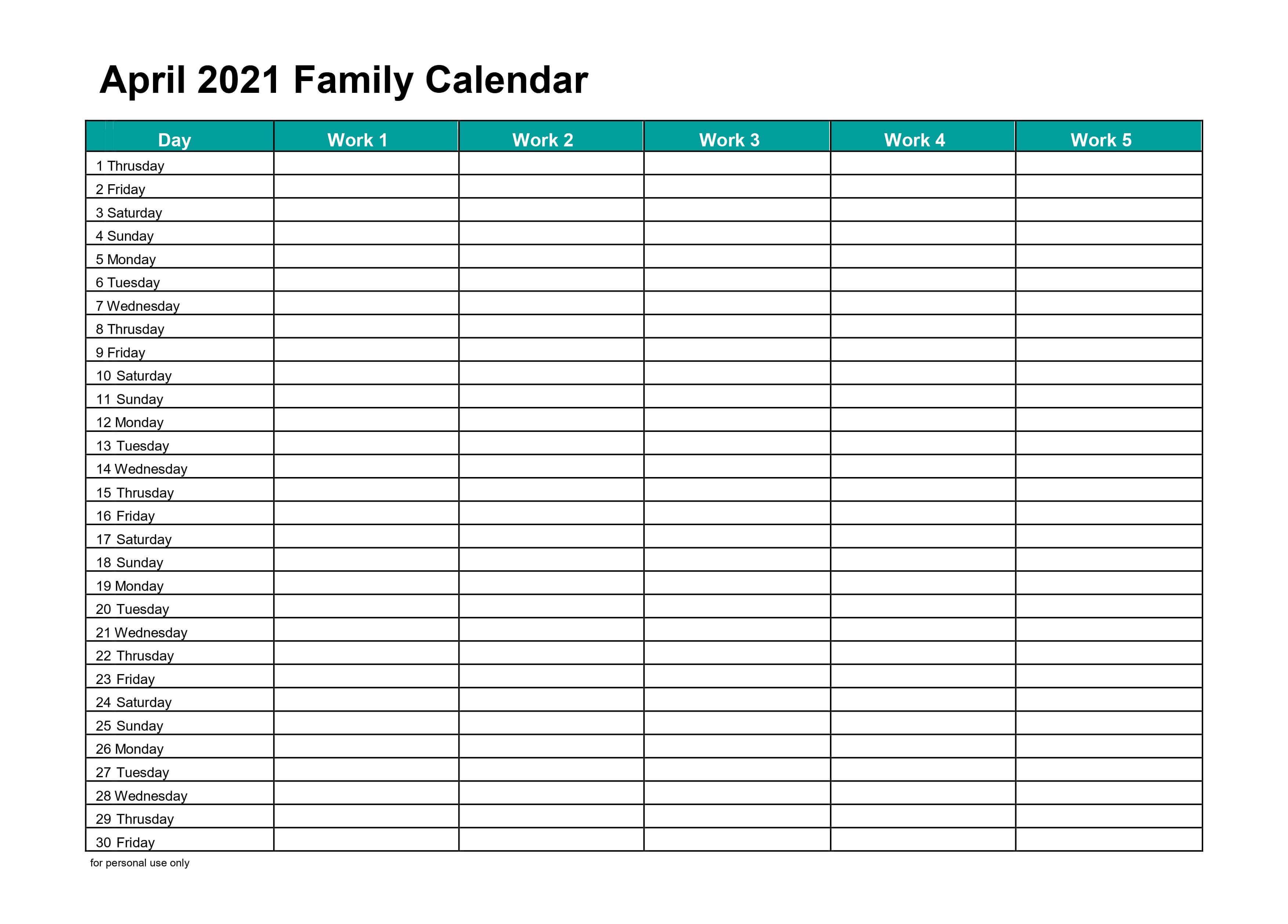 Blank April 2021 Family Calendar
