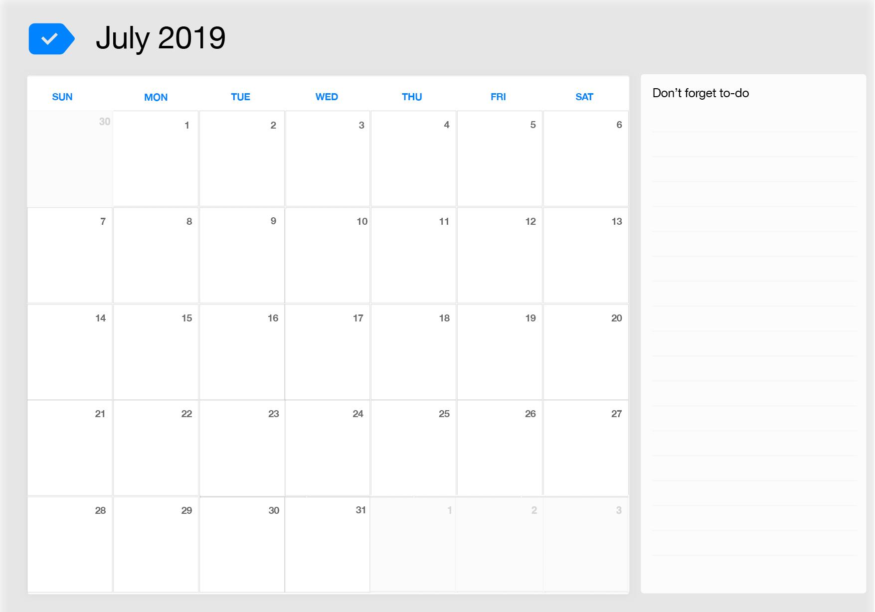 Blank July 2019 Calendar Excel Template