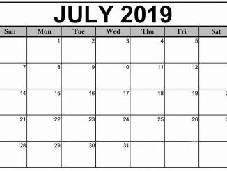 Blank July 2019 Calendar Template
