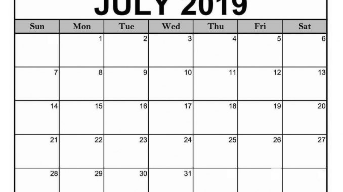 Blank July 2019 Calendar Pdf Word Excel Template