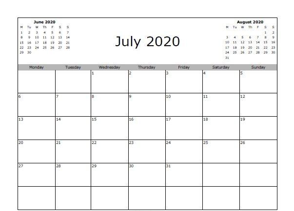 Blank July 2020 Calendar Templates