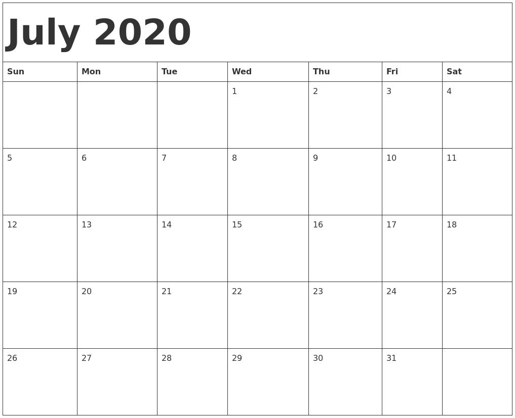 Blank July 2020 Calendar Printable Template