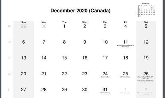 Canada December Holidays Calendar 2020
