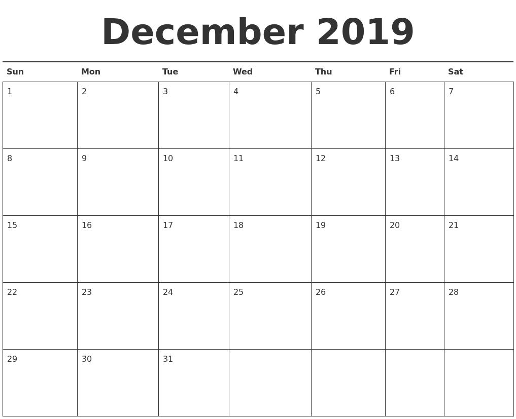 December 2019 Calendar Excel