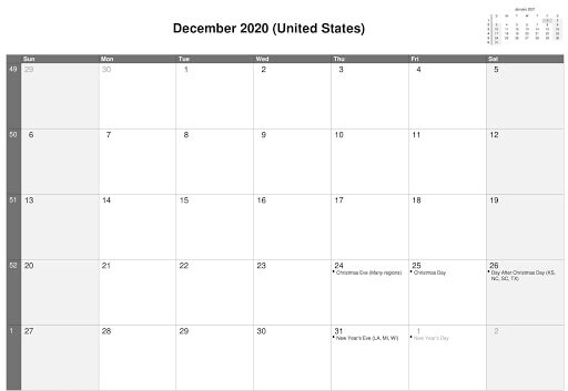 December 2020 Calendar USA Holidays