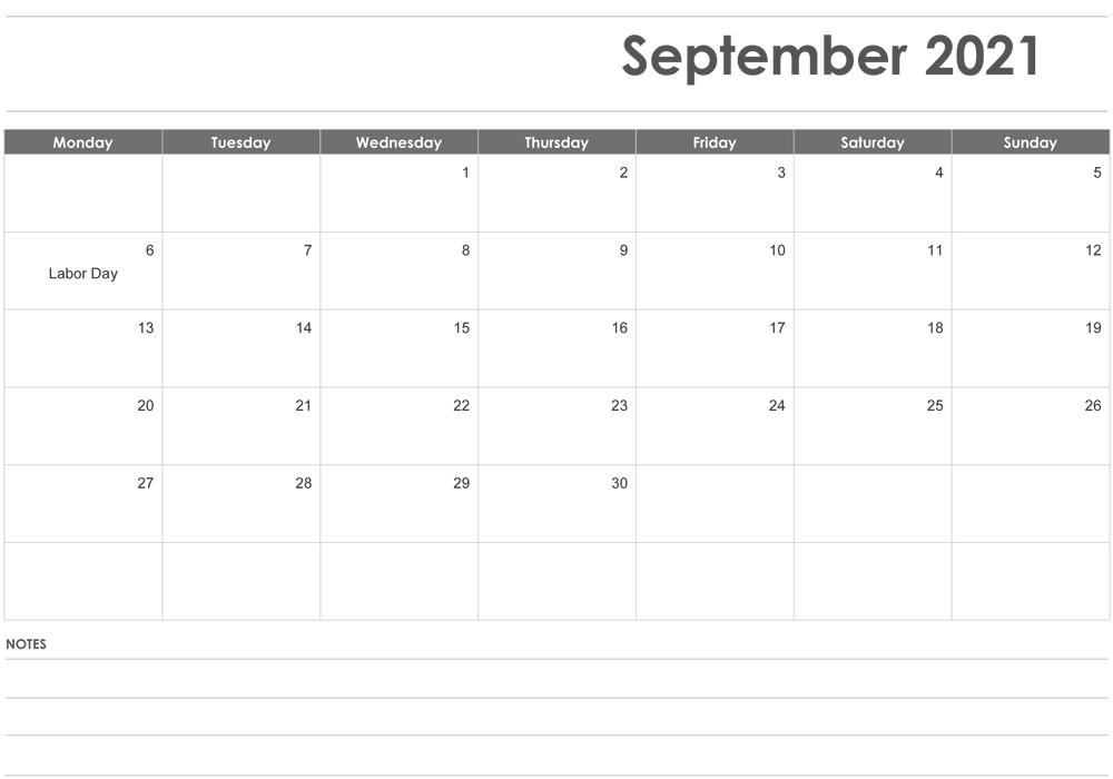 Customizable September Calendar 2021