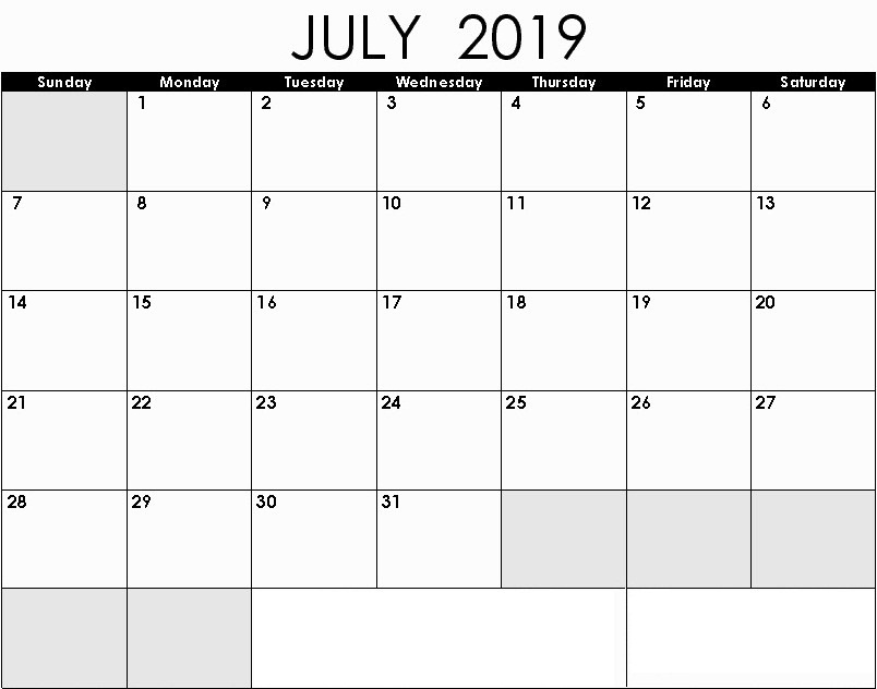 Editable July 2019 Calendar Monthly