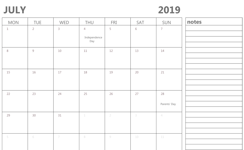 Editable July 2019 Calendar with Notes