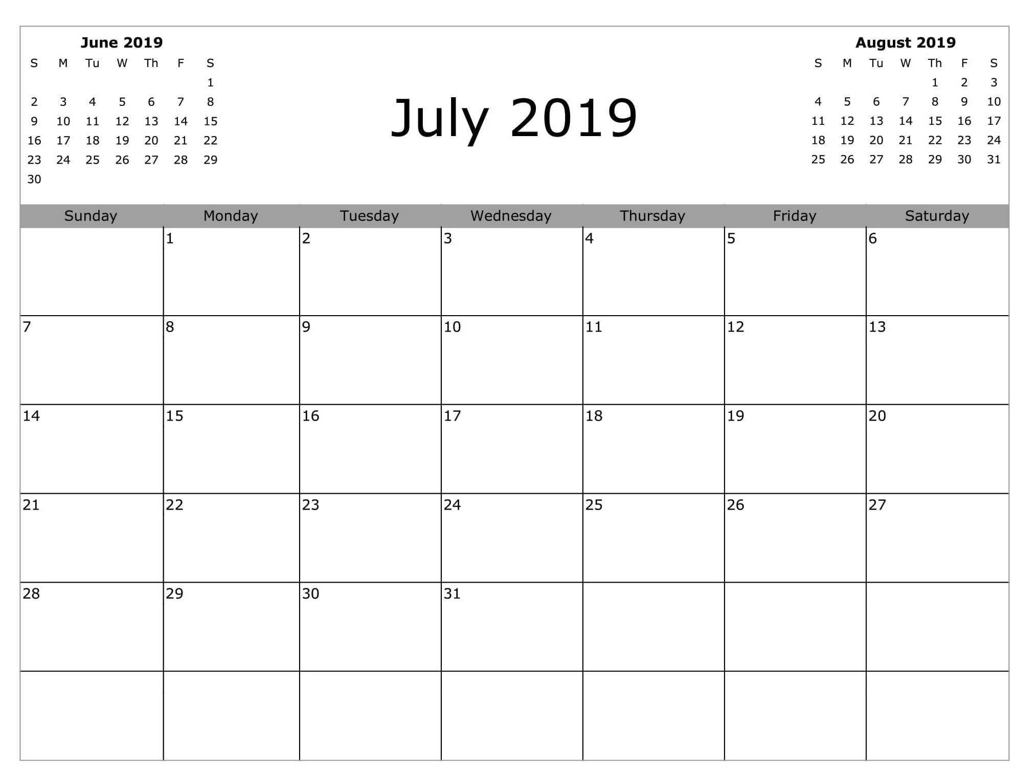 Editable July Calendar for 2019
