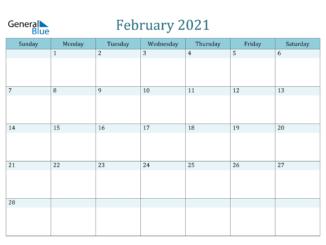 February 2021 Excel Calendar