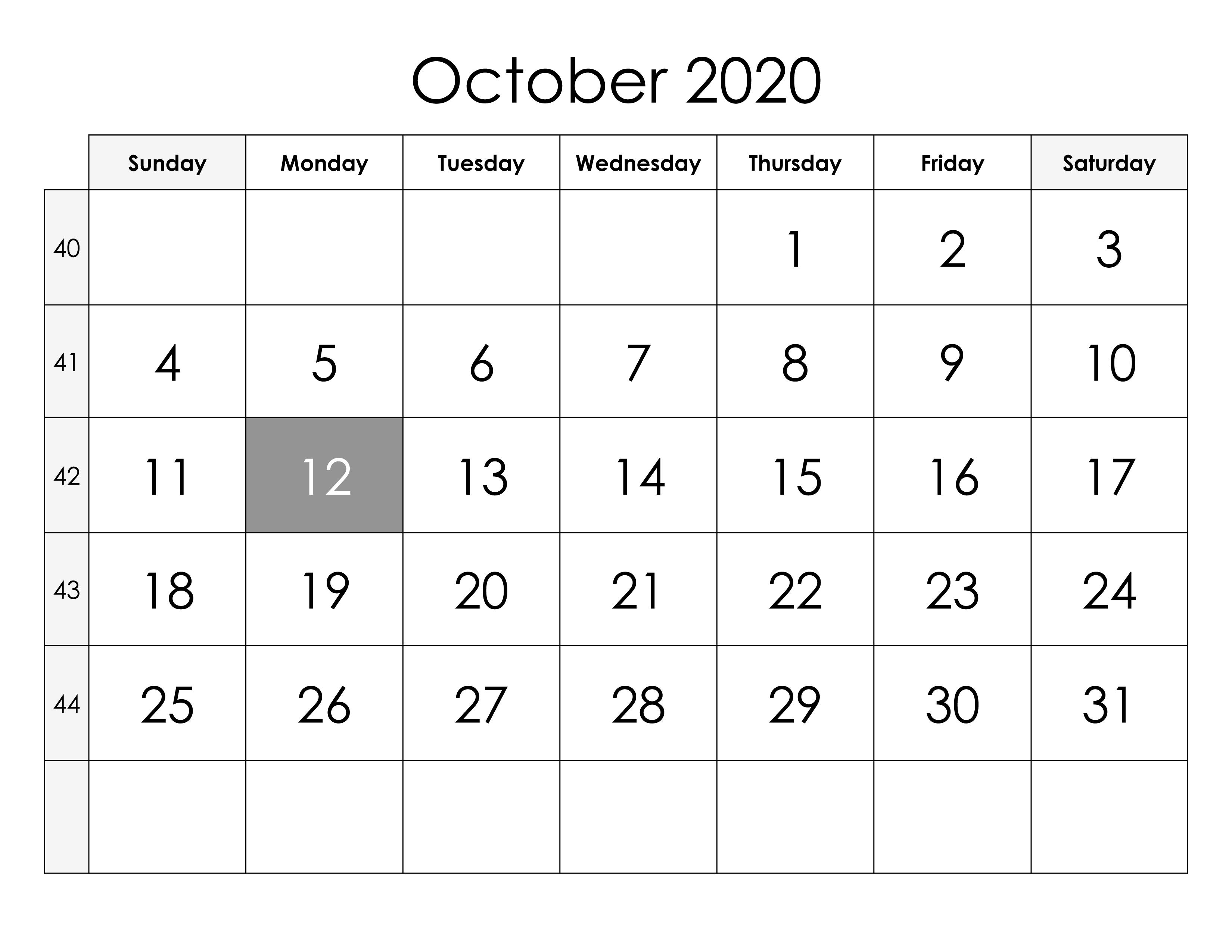 Federal Holidays Calendar October 2020