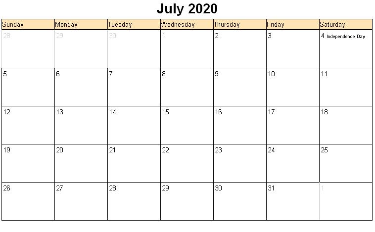 Fillable July 2020 Calendar Printable