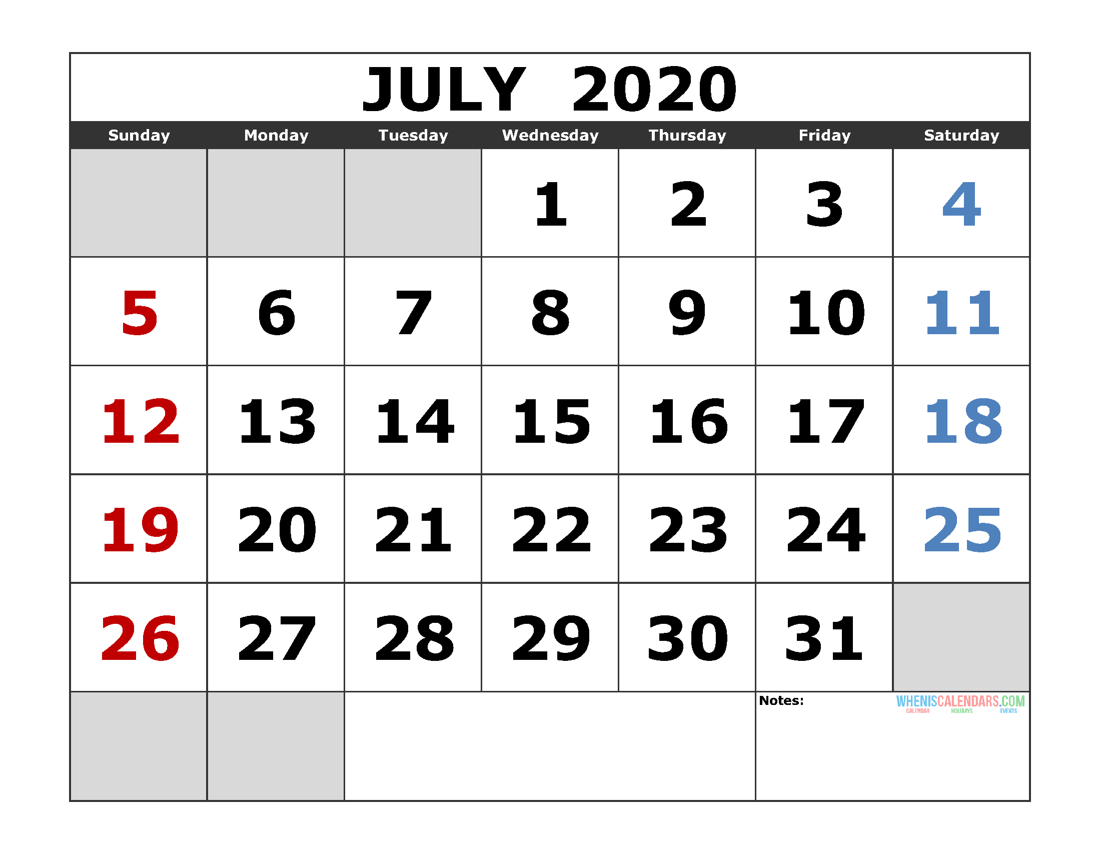Fillable July 2020 Calendar Template