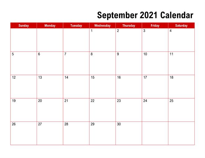 September 2021 Calendar Template