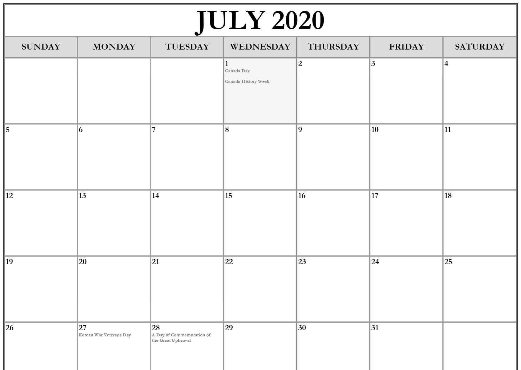 Free Calendar of July 2020 Printable Template