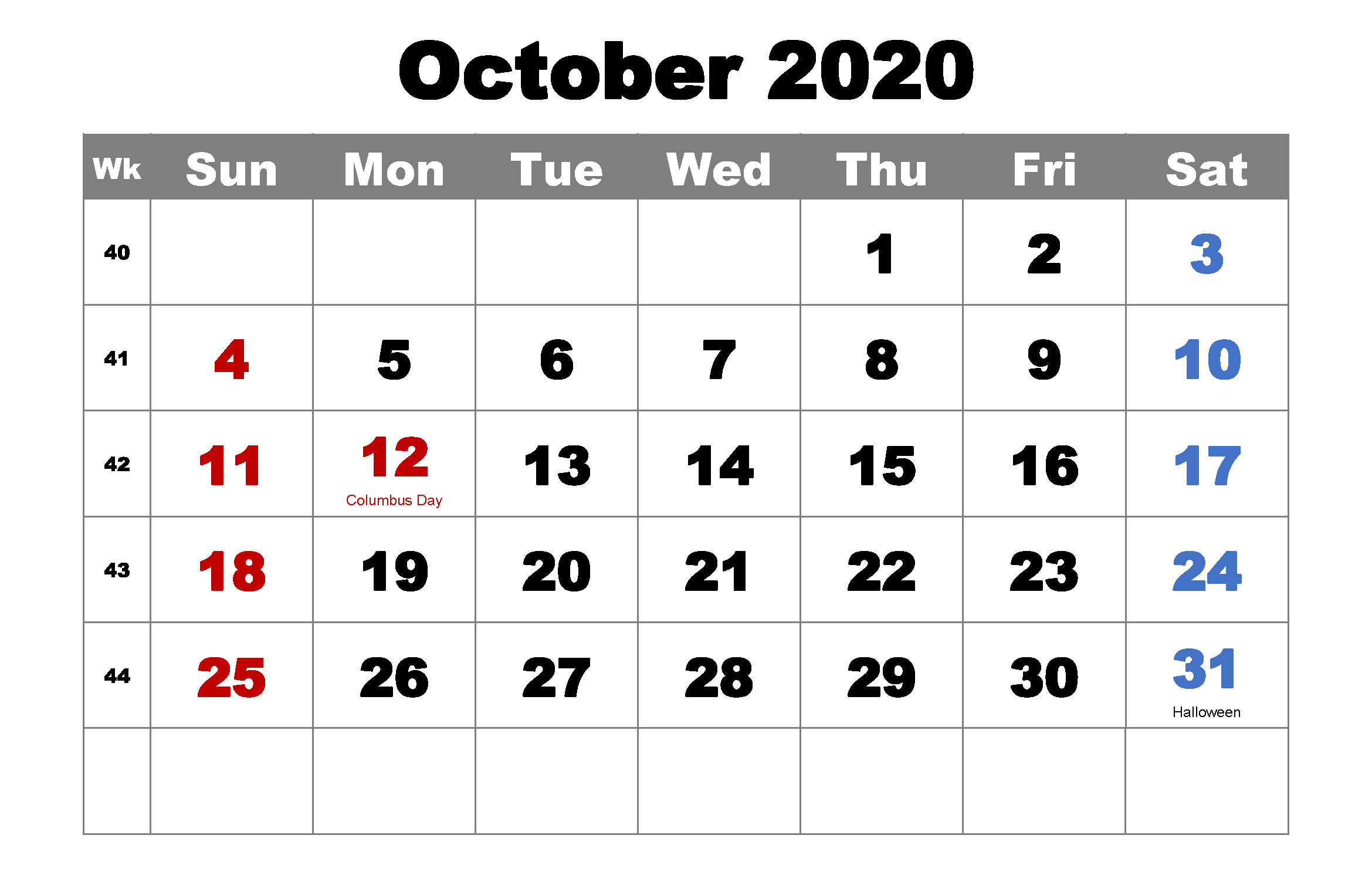Free October 2020 Monthly Calendar with Holidays