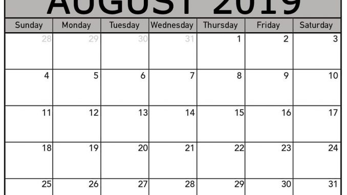 image relating to Free Printable August Calendar named August 2019 Calendar PDF, Term, Excel Templates