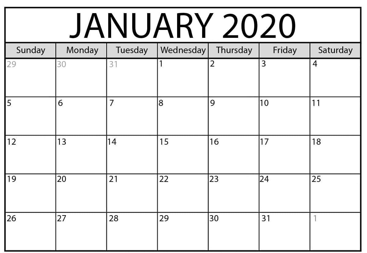 Free January 2020 Calendar PDF, Word, Excel Printable Template