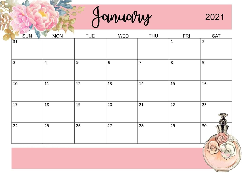 January 2021 Office Desk Calendar