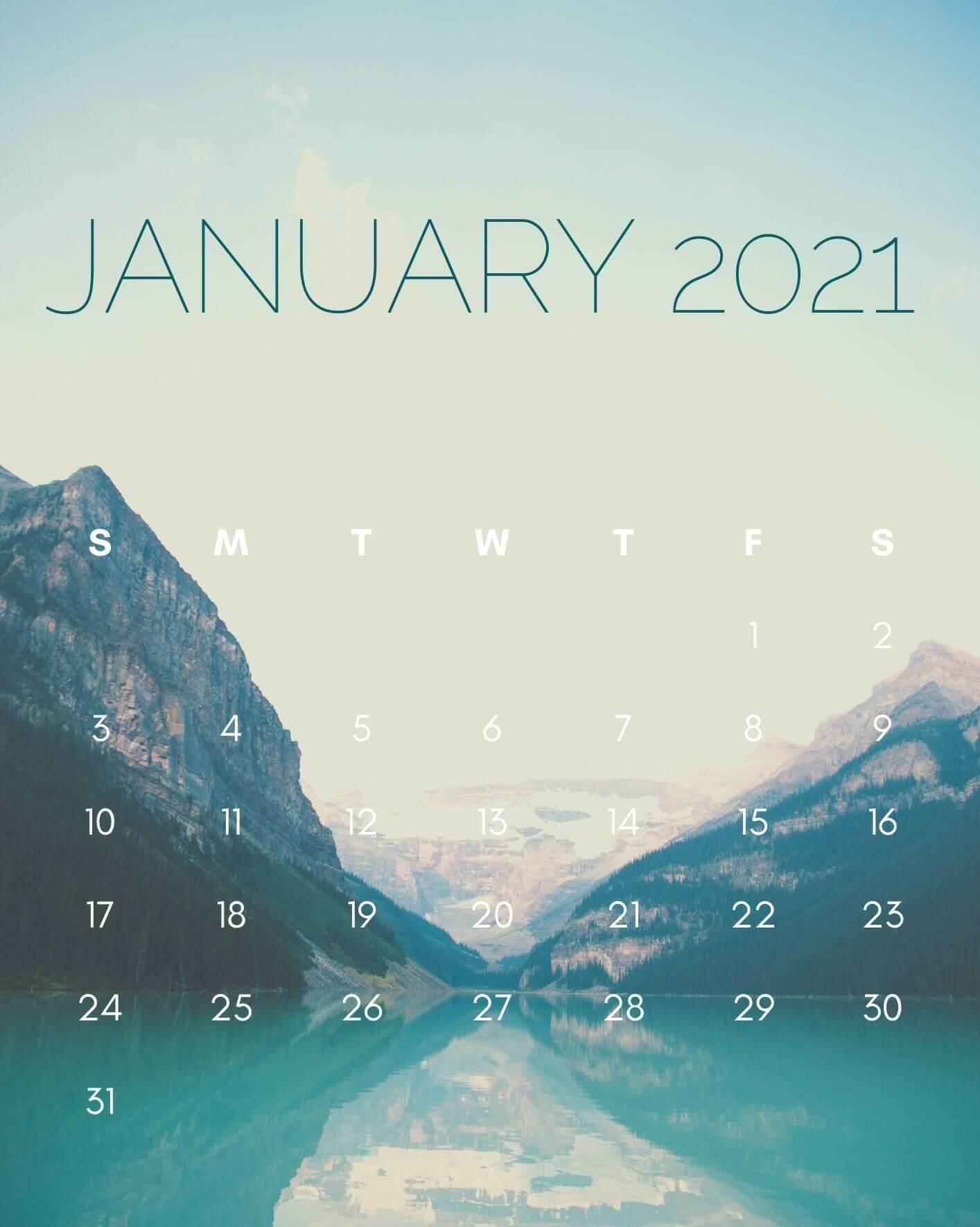 January 2021 iPhone Calendar