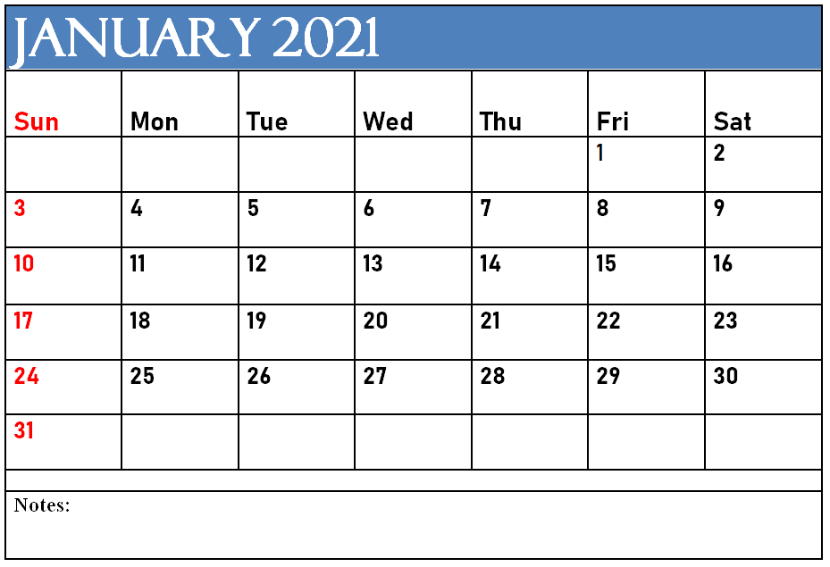 January Calendar 2021 with Notes