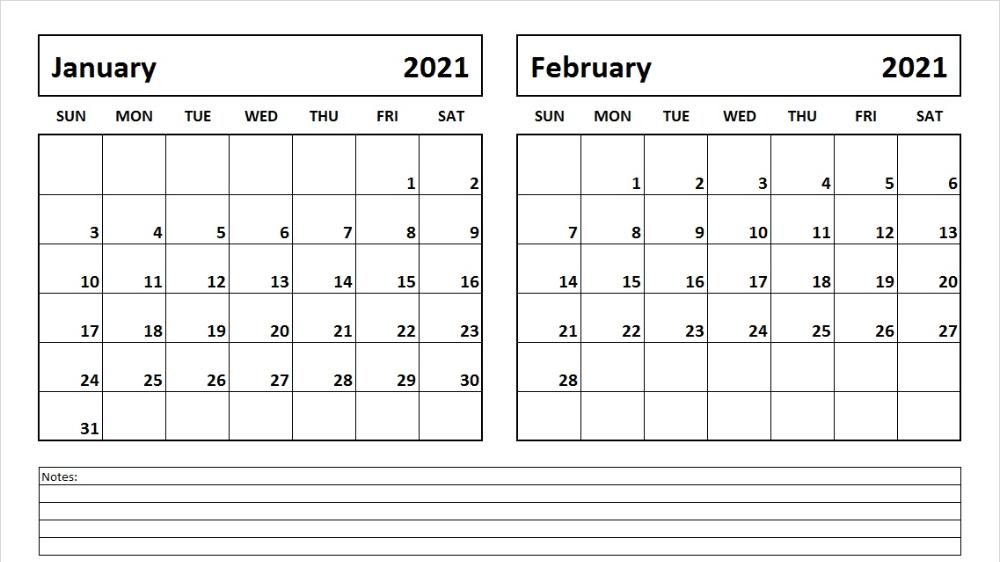 January February 2021 Calendar