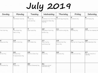 July 2019 Calendar With Holidays Canada