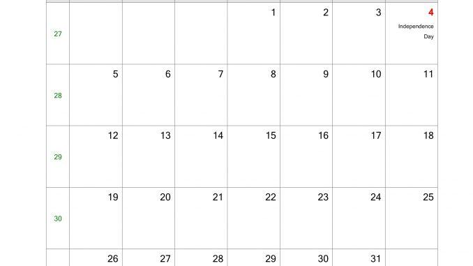 Free July 2020 Blank Calendar