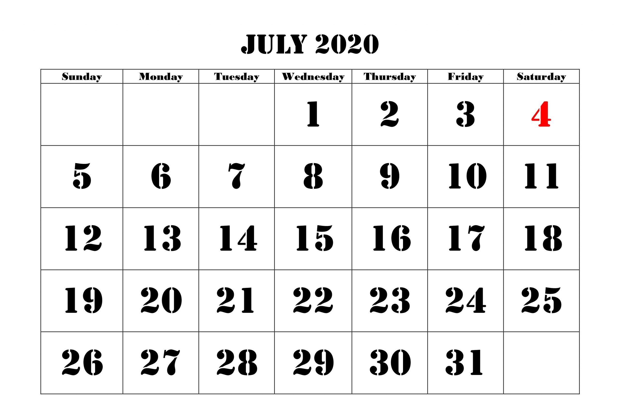 July 2020 Calendar Excel