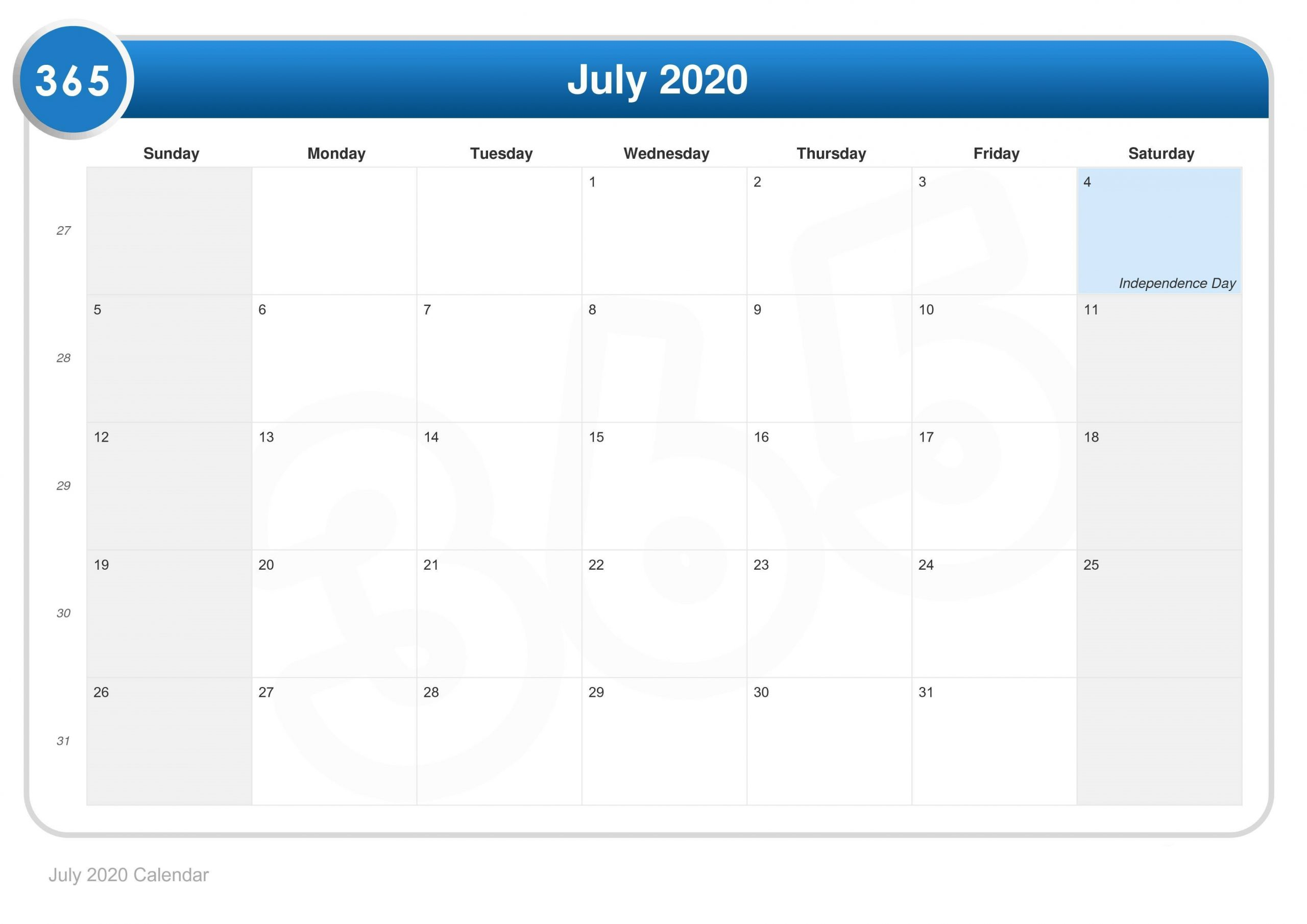 July 2020 Calendar Holidays Template