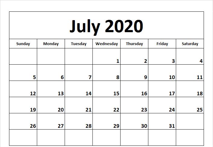 July 2020 Calendar PDF