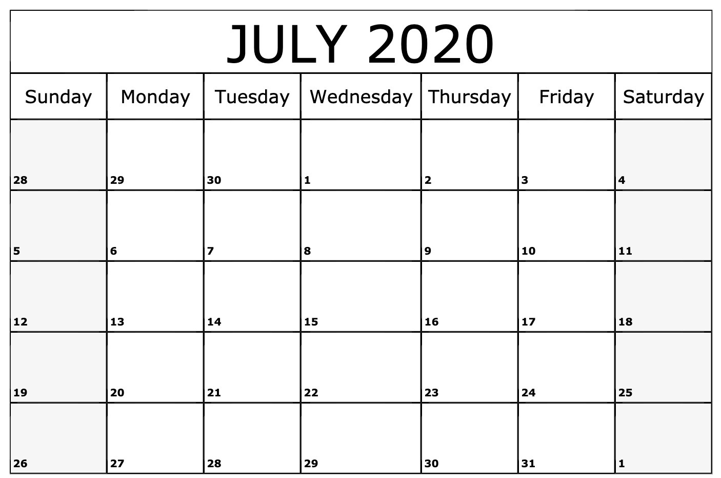 July 2020 Calendar Printable Template