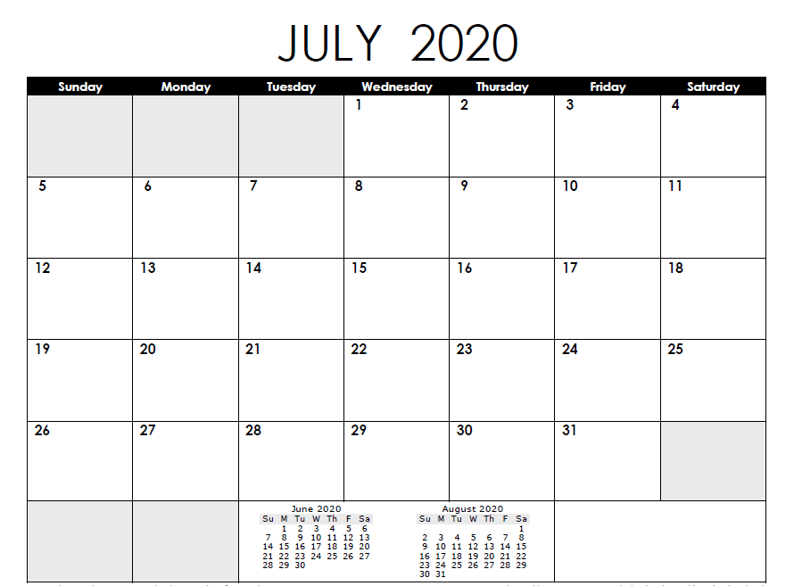 July 2020 Calendar with Holidays US